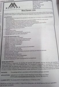 Modikwa Platinum Mine Vacancies 1